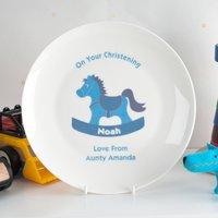 Personalised Bone China Plate - Boys Christening Rocking Horse - Horse Gifts