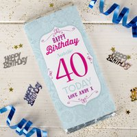 Personalised Chocolate Bar - Happy Birthday - 40 Today - Getting Personal Gifts