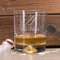 Personalised Stern Whisky Glass - Top Usher Initial & Date
