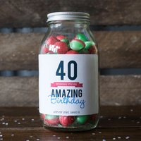 Personalised Jar Of Rosy Apple Sweets - Happy 40th - 40th Gifts