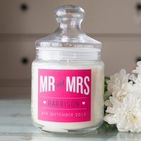Personalised Deluxe Jar Candle - Mr & Mrs - Candle Gifts