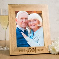 Personalised Wooden Photo Frame - 50th Anniversary - 50th Gifts