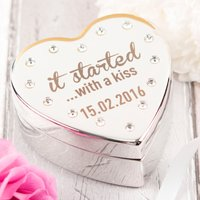 Engraved Diamanté Heart-Shaped Jewellery Box - It Started With A Kiss - Jewellery Box Gifts