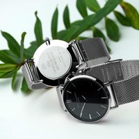 Personalised Women's Metallic Mesh Strap Watch With Black Dial - Getting Personal Gifts