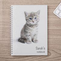 Personalised Notebook - Cute Kitten - Kitten Gifts