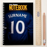 Personalised Football Shirt Notebook - Navy Blue - Football Gifts