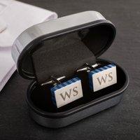 Personalised Rectangular Cufflinks with Blue Stripe - Cufflinks Gifts