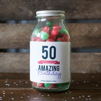 Personalised Jar Of Rosy Apple Sweets - Happy 50th - 50th Gifts