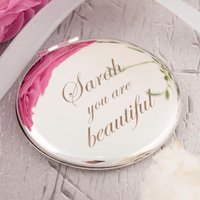 Engraved Compact Mirror - You Are Beautiful - Beautiful Gifts