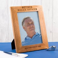 Personalised Wooden Photo Frame - Retired Police Officer - Police Gifts
