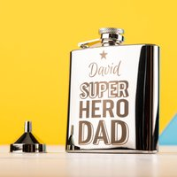 Engraved Stainless Steel Hip Flask - Super Hero Dad - Hip Flask Gifts