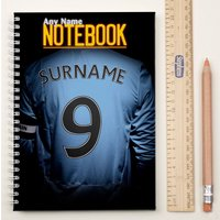 Personalised Football Shirt Notebook - Sky Blue - Football Gifts