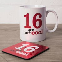 16th Birthday Mug And Coaster Set - Mr Cool - Getting Personal Gifts