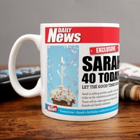 Personalised Mug - 40 Birthday News - Cutlery Gifts