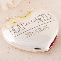 Engraved Heart Compact Mirror - Head Over Heels - Heels Gifts