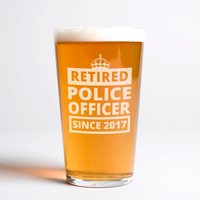 Personalised Pint Glass - Retired Police - Police Gifts