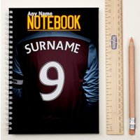 Personalised Football Shirt Notebook - Claret & Blue - Football Gifts