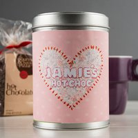 Personalised Hot Chocolate - Stitched Pink Heart - Hot Chocolate Gifts