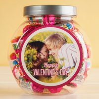 Personalised Love Hearts Jar - Photo Upload Happy Valentine's Day
