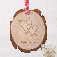 Personalised Tree Carving Hanging Wooden Keepsake - Two Hearts - Keepsake Gifts