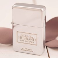 Engraved Lighter - World's Best Husband, 40 Years - Husband Gifts