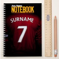 Personalised Football Shirt Notebook - Red - Football Gifts
