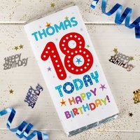 Personalised Chocolate Bar - 18 Today Happy Birthday Stars - 18th Birthday Gifts