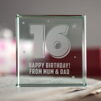 Personalised Glass Token - 16th Birthday Stars - 16th Gifts