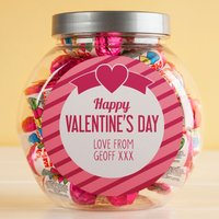 Personalised Love Hearts Jar - Happy Valentine's Day