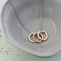 Personalised Posh Totty Designs 9ct Gold Tricolore Mini Ring Necklace - Posh Gifts