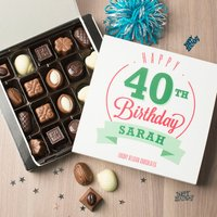 Personalised Belgian Chocolates - Happy 40th Birthday - 40th Birthday Gifts