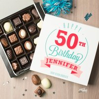 Personalised Belgian Chocolates - Happy 50th Birthday