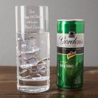 Engraved Crystal Highball Glass With Gin & Tonic Can - Gin Gifts