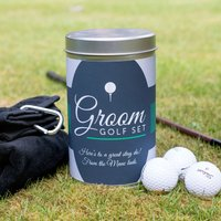 Golf Gift Set In Personalised Tin - Groom
