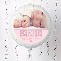 Photo Upload Large Helium Balloon - Baby Girl, Pink Bunting - Baby Girl Gifts