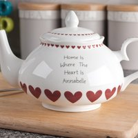 Personalised Bone China Teapot - Red Heart Design - Teapot Gifts