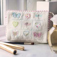 Personalised Cosmetic Bag - Embroidered Butterflies and Hearts