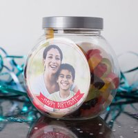 Personalised Haribo Sweet Jar - Happy Birthday Photo Upload - Haribo Gifts