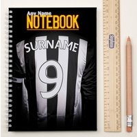 Personalised Football Shirt Notebook - Black & White - Football Gifts