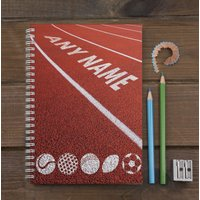 Personalised Notebook - Sports Track - Track Gifts