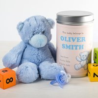 Personalised Teddy In A Tin - Cute Baby Boy - Baby Boy Gifts
