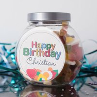 Personalised Haribo Sweet Jar - Birthday Jellies - Haribo Gifts
