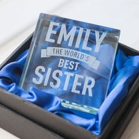Personalised Glass Token - World's Best Sister - Sister Gifts
