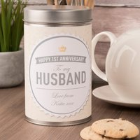 Personalised Tin With Biscuits - Happy 1st Anniversary, Husband - Husband Gifts