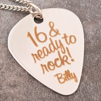 Personalised Guitar Pick Necklace - 16, Ready To Rock - Guitar Gifts