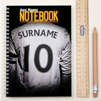 Personalised Football Shirt Notebook - White - Football Gifts