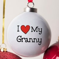 Personalised Bone China Bauble - I Heart My Granny