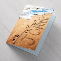 Personalised Card - Rude Message In The Sand - Rude Gifts
