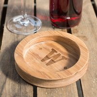 Image of Personalised Wooden Wine Bottle Coaster - Initials
