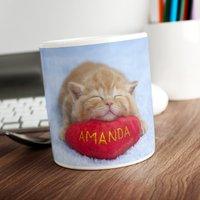 Personalised Mug - Kitten Asleep On A Cushion - Kitten Gifts